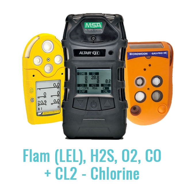 Specialist Multi Gas Monitor (Flam (LEL), H2S, O2, CO + CL2 - Chlorine)