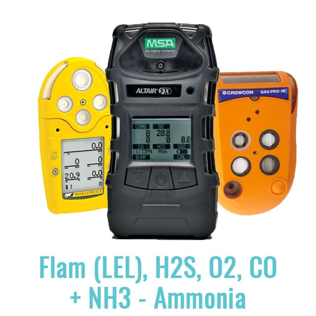 Specialist Multi Gas Monitor (Flam (LEL), H2S, O2, CO + NH3 - Ammonia)