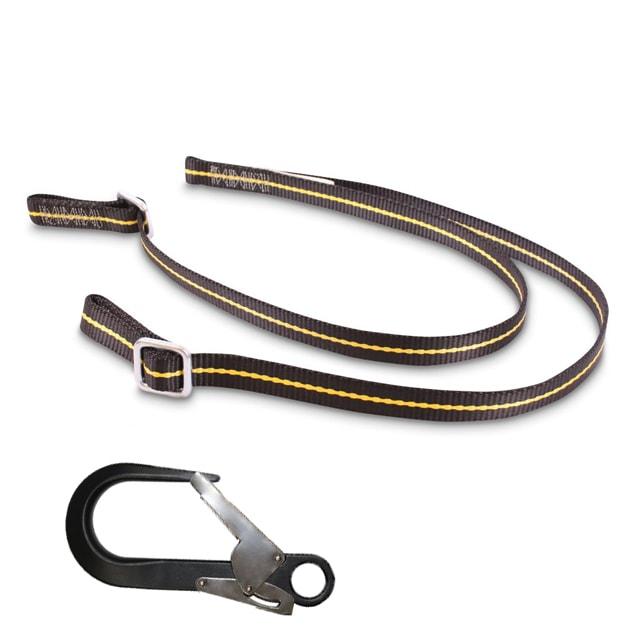 Work Positioning Twin Leg Lanyard Adjustable 1-2m - With Scaffold Hook